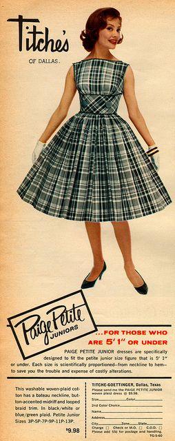 Paige Petite Juniors ad, 1960. #vintage #1960s #fashion #dress