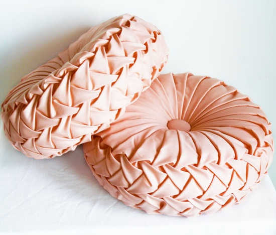 Handmade 1960s Vintage Inspired Round Smocked Decorative Pillows Peachy Pink Cotton Poly Blend