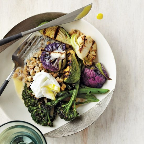 Grilled Brassicas with Mixed Grains & Bonito Broth // More Vegetables Dishes: www.foodandwine.c... #foodandwine #fwpinandwin