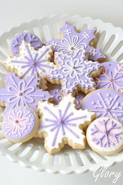 Fantastically pretty purple and white snowflake Christmas cookies. #snowflake #Christmas #cookies #food #purple #baking #party #winter