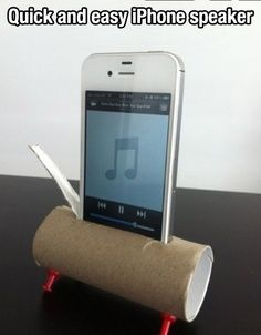 DIY iphone speaker - omg how ghetto but great idea