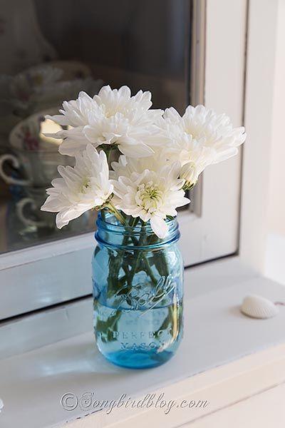 decorate with blue mason jars