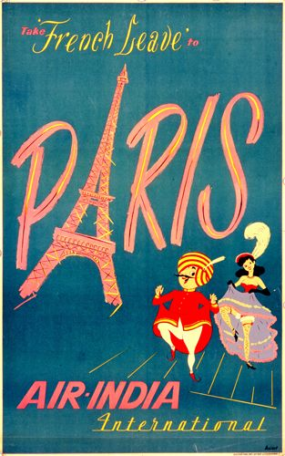 Vintage Travel Poster for Air India International,  Paris