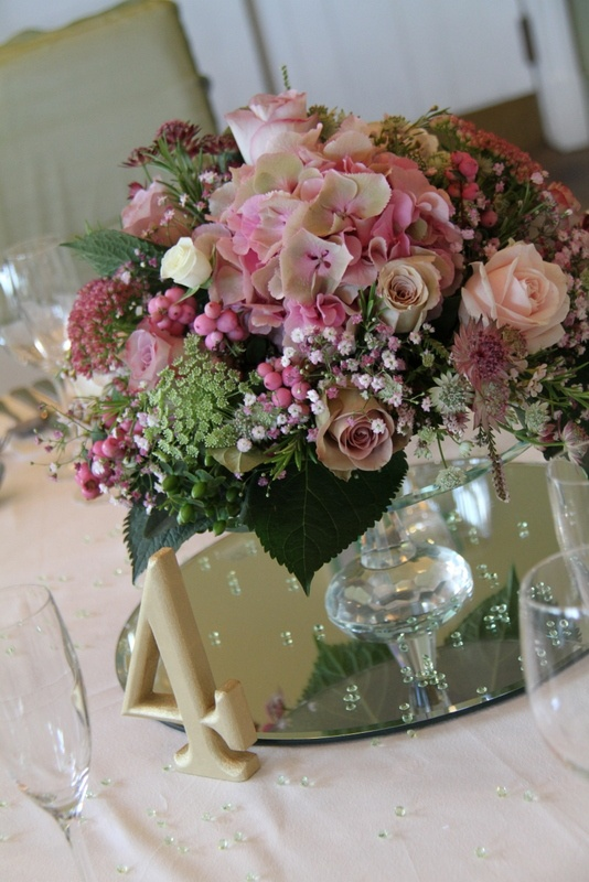Flower Design Events: Crystal Cake Plinth table centrepiece for a Vintage Wedding Day