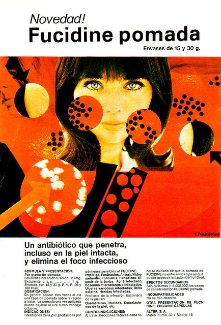 """Graphic Design are advertisements from the magazines """"Clínica Rural"""" and """"Gloss""""  from Spain in the 1950?s -1970?s."""