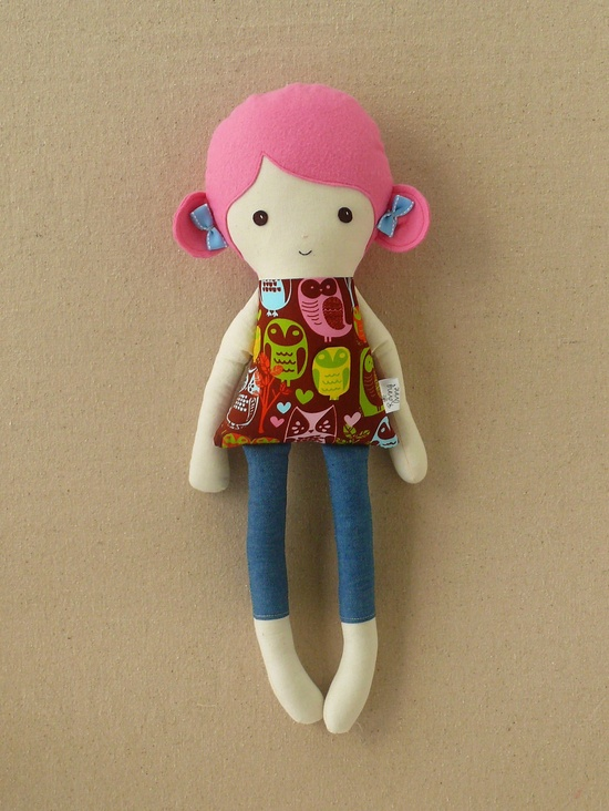 Pink Haired Fabric Doll Rag Doll