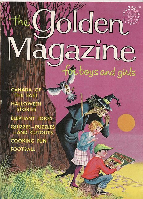 Halloween illustrated cover of The Golden Magazine.