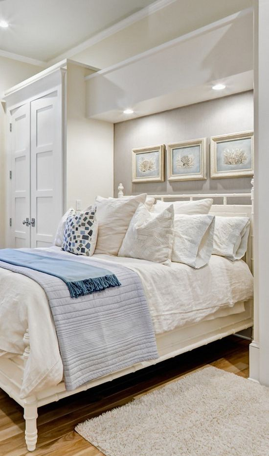 for a smaller bedroom-designed by Beach Chic Design... Beachchicdesign.com