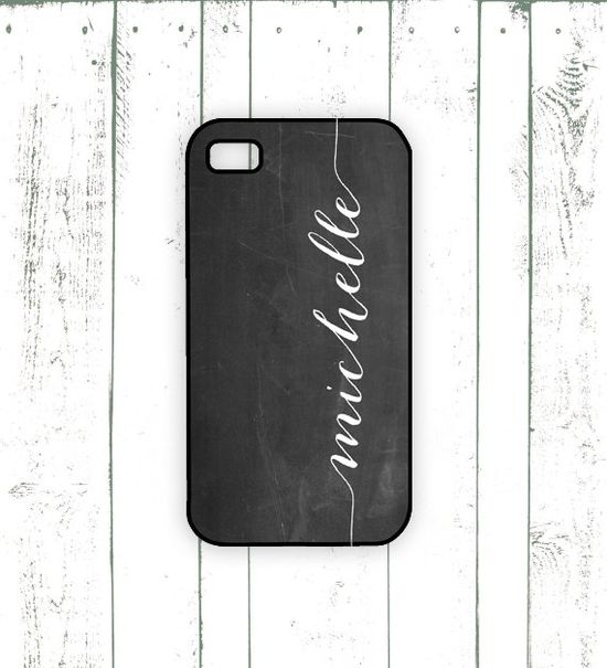 $18 Chalkboard iPhone Case, Personalized iPhone Case with Script Monogram, Christmas Gift
