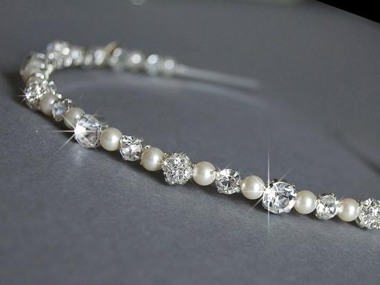 Wedding Headband - Swarovski Pearls and Rhinestone - Wedding Hair Accessories - Diamante Wedding Headbands. £35.50, via Etsy.