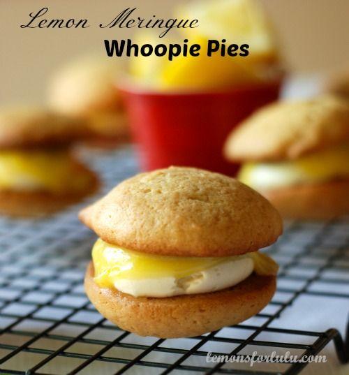 Lemon whoopie pies filled with Swiss Meringue buttercream and lemon curd to create sweet little lemon meringue pies!   www.lemonsforlulu...