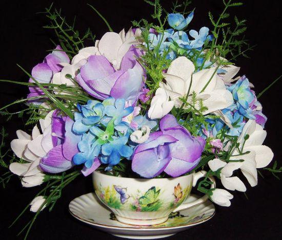 Teacup Flower Arrangement Lavender Crocus