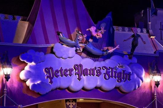 Peter Pans Flight Sign at Night