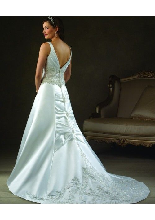 Adorable Beaded Applique Accents A-Line Style with Sweep Train Skirt Lucky Wedding Dress