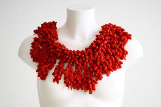 Tzuri Gueta - necklace bijou_silicone_piece_unique_corail -   http://www.tzurigueta.com/