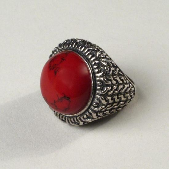 Vintage Sterling & Marbled Enamel Ring