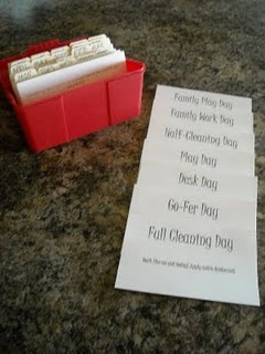 """""""Red Box"""" Organization System. It uses a """"card system"""" to help keep you organized.    If you are super organized, and you keep a clean house, this is not the system for you. But if you're like me and you struggle to get all your chores done, and you have a hard time getting done what you """"have"""" to do, so you can do what you """"want"""" to, then this is for you!"""