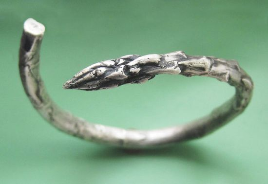 Sterling Silver Asparagus Bracelet by sudlow on Etsy, $180.00
