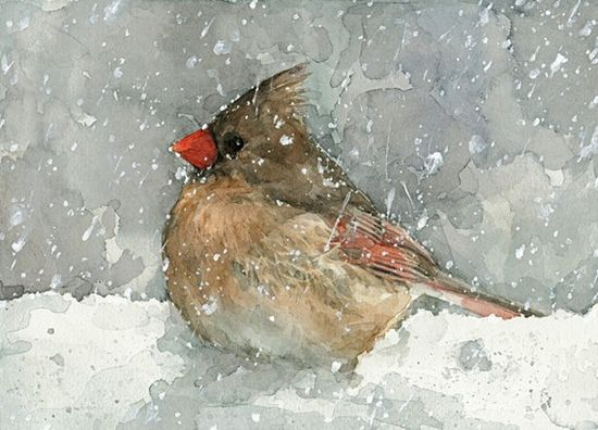 Cardinal in the Snow - Watercolor