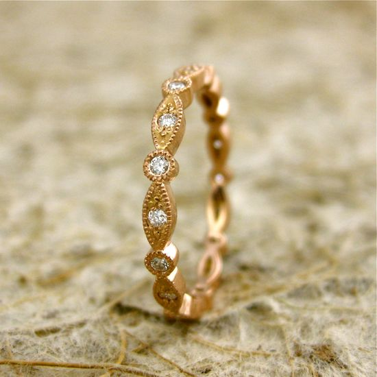 Diamond 14K Rose Gold Round Oval Ring