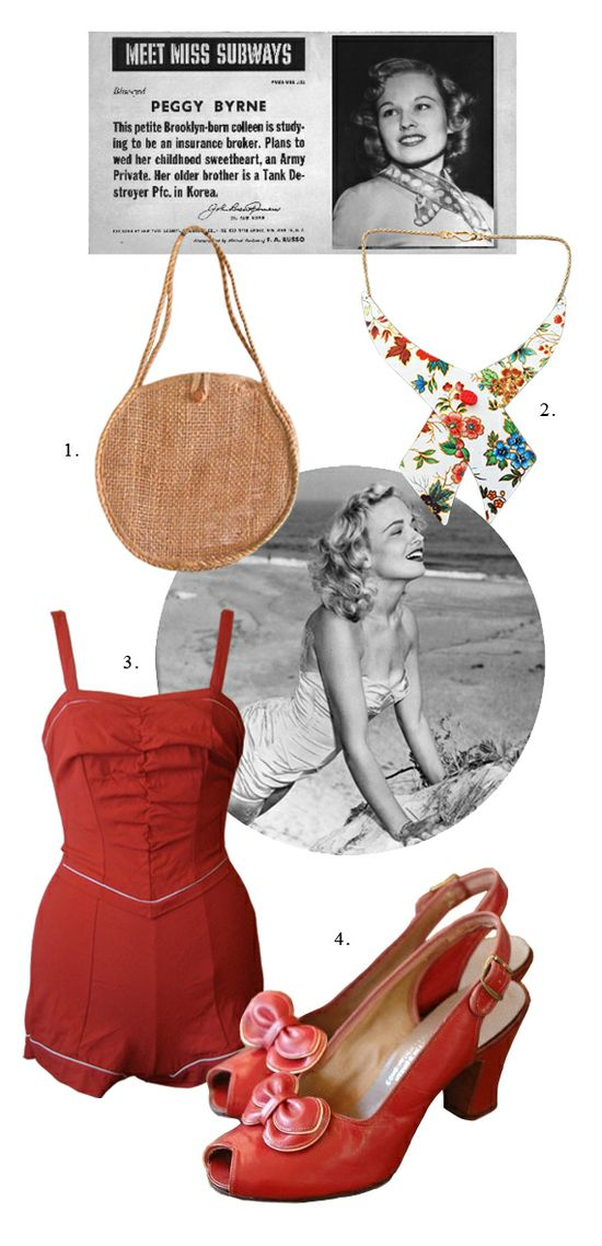 A summer look inspired by a Miss Subways, 1950, one of the commuting beauty queens of NYC.