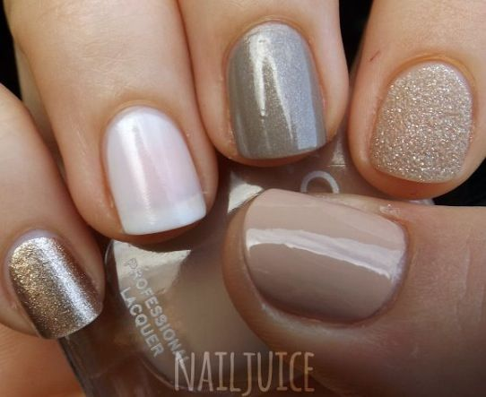 Nails neutral and glitter ombre