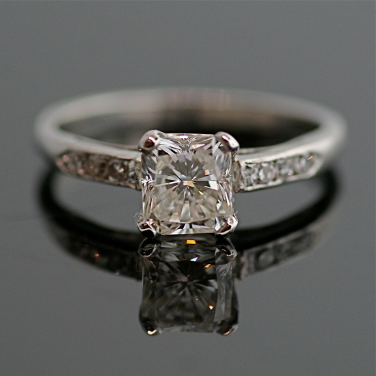 Vintage Diamond Engagement Ring - 14K White Gold and Diamond