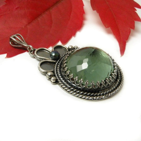 Silver pendant with green amethyst and pearl , metalwork , vintage style. $125.00, via Etsy.