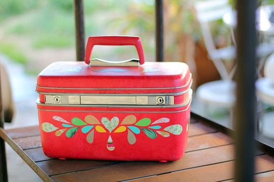 CLAUDETTE... Remixed Vintage Train Case, upcycled luggage
