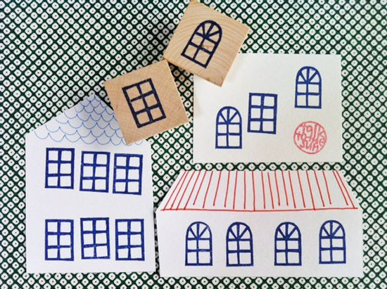 window rubber stamp - hand carved stamp -  hand carved rubber stamp - set of 2- mounted
