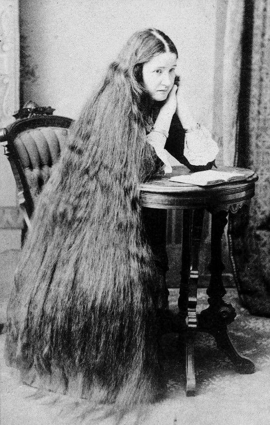 vintage super long hair photo, portrait of a woman