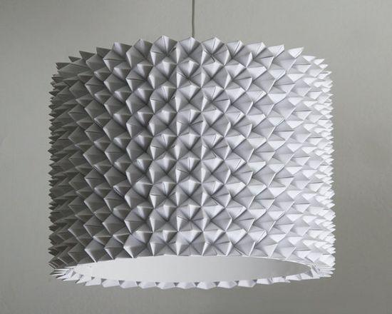 Folded paper hanging lamp shade. $295 #Lamp_Shade #Paper