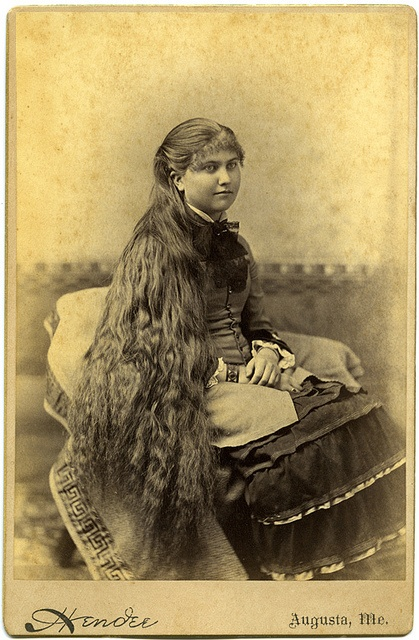Girl with long hair.