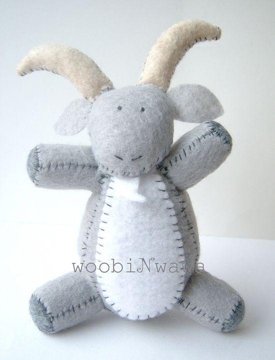 Straws the Goat Felt Animals by woobiNwawa on Etsy, $48.00