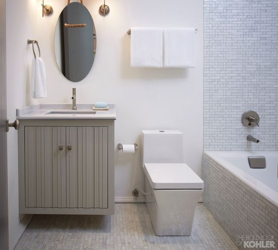 modern bathroom design & gray floating vanity
