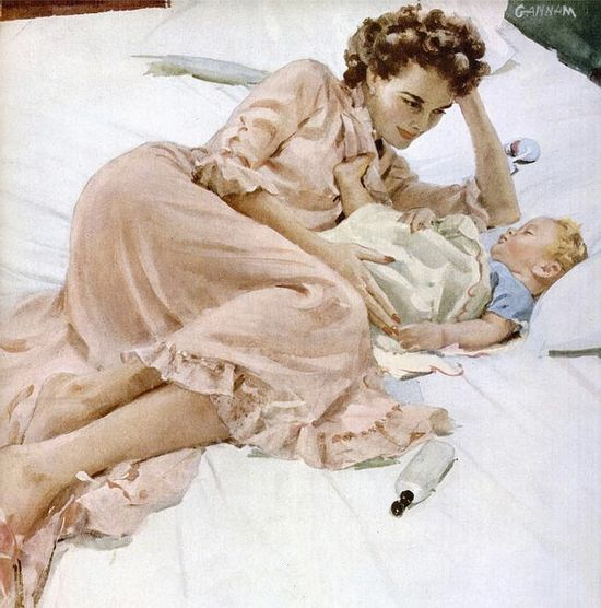 Such a timelessly, heartwarmingly beautiful illustration. #vintage #1940s #mother #baby #homemaker #ad