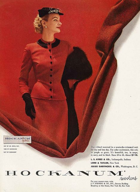 Red hot style, September 1952. #vintage #fashion #1950s