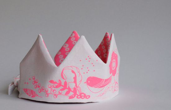 neon pink fabric crown sewing kit - etsy.