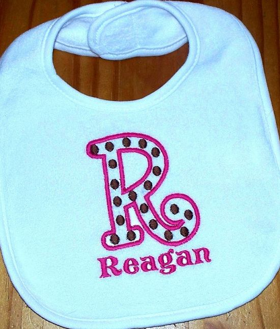 Baby Boy or Girl Bib    Polka Dot Monogrammed by LittleTexasBabes, $12.00