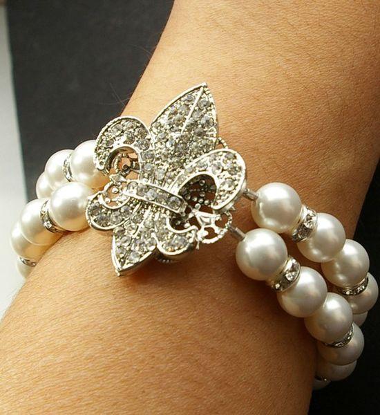Rhinestone Pearl Bracelet, Double Strand Bridal Bracelet, FLEUR de LIS Collection