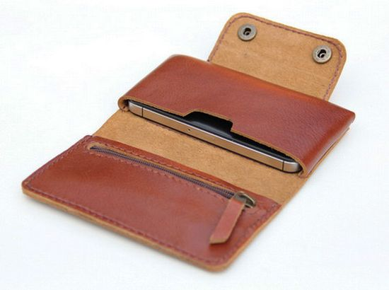 Leather  iPhone wallet case in Tan Brown