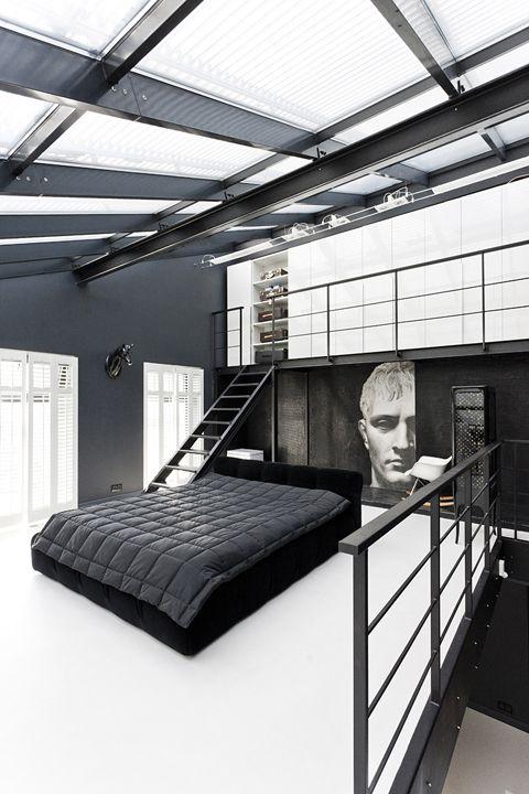 Masculine and dark bedroom interior