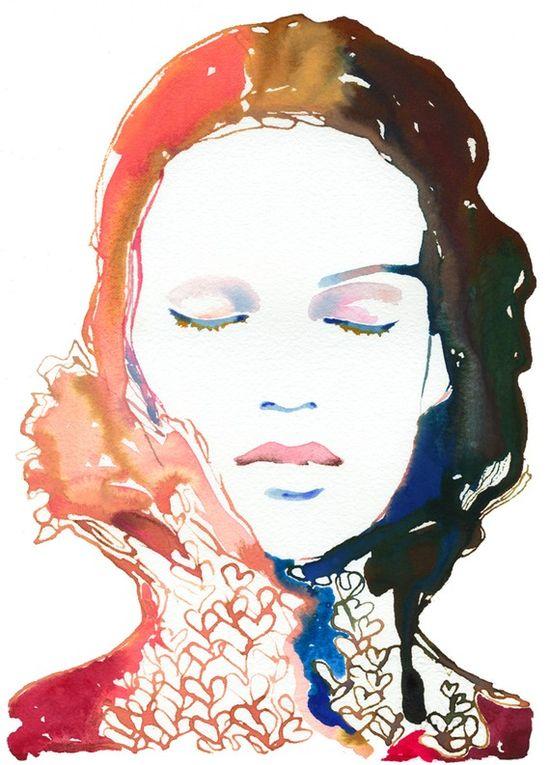 watercolour fashion illustration