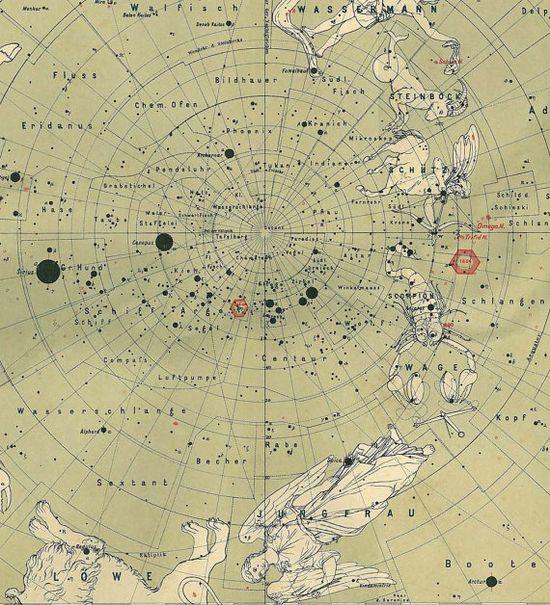 Southern Sky Celestial Map 1914