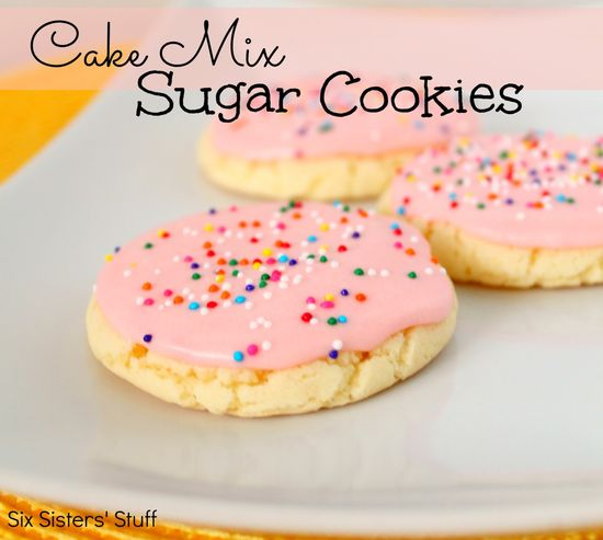 Cake Mix Sugar Cookies from sixsistersstuff.com.  The yummy taste of sugar cookies without all the work! #recipes #dessert #cookies