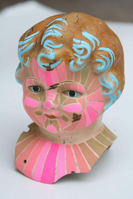 April Deacon Painted Antique Doll Head