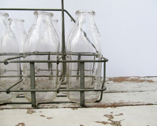 Milk Bottles with Carrier by Modred12 on Etsy, $170.00