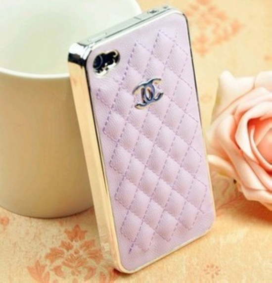 iPhone 4 Case, silver color small CC logo,Pink Leather iPhone 5 cover, Cute iPhone 4s Case Cover. $14.68, via Etsy.