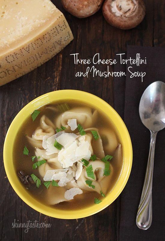 Three Cheese Tortellini and Mushroom Soup
