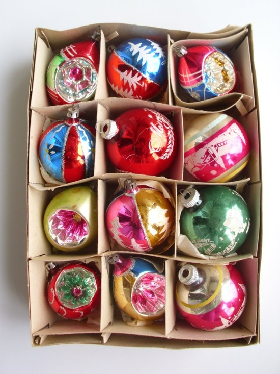 vintage Christmas ornaments in beautiful colours